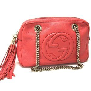 GUCCI Small SOHO Double Chain Shoulder Bag Begonia